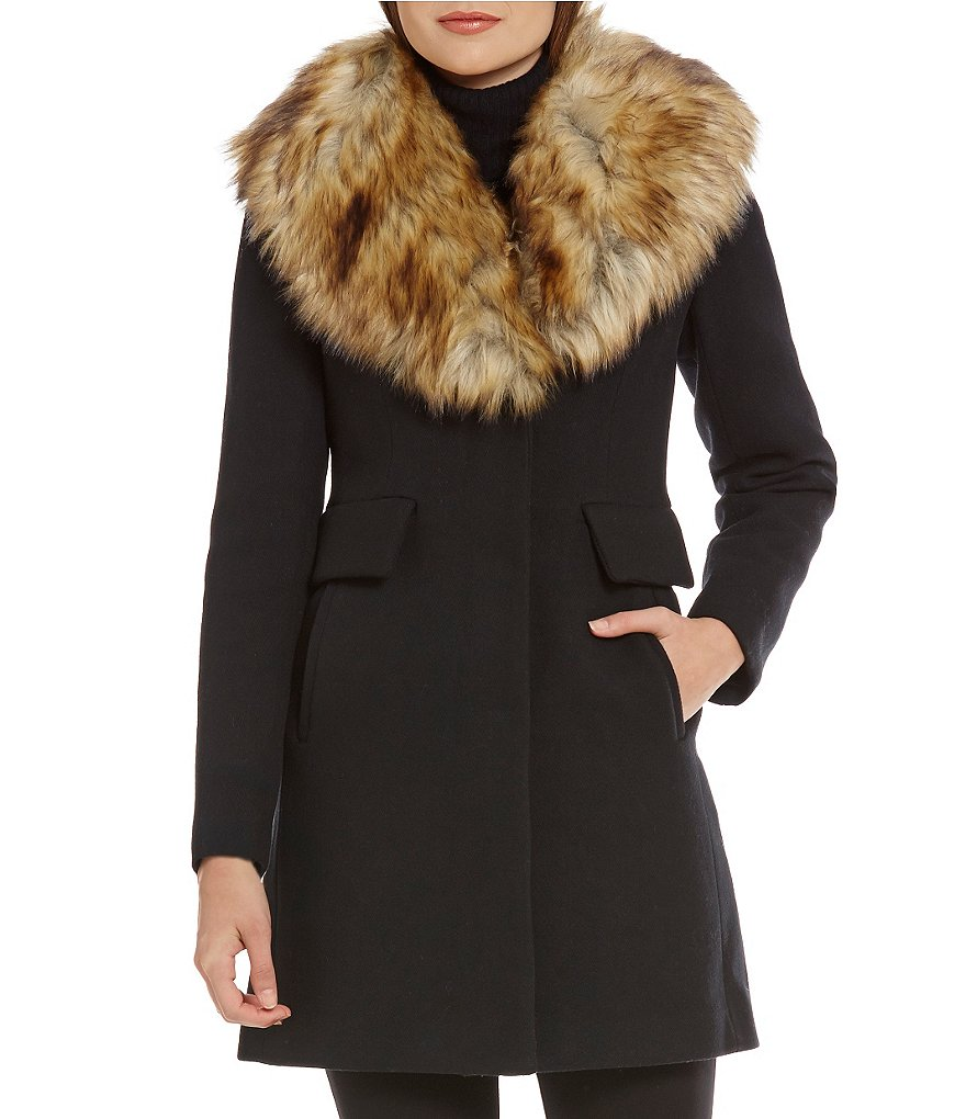 kate spade new york Faux Fur Collar Wool Coat