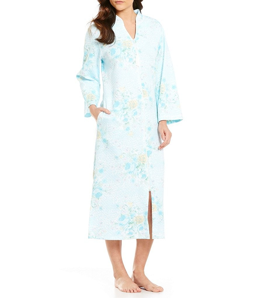 Miss Elaine Floral Quilted Zip Robe
