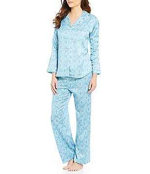 Miss Elaine Brushed Back Satin Foulard Pajamas