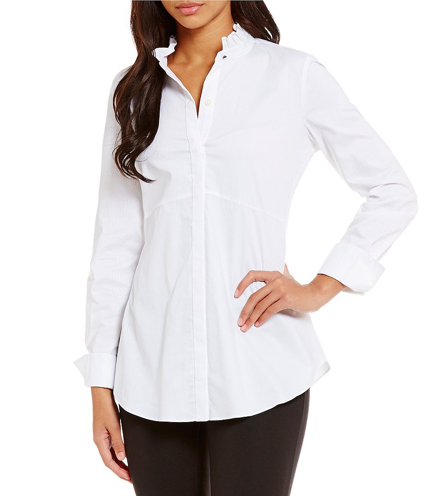 Ellen Tracy Ruffled Collar Satin Stripe Poplin Shirt