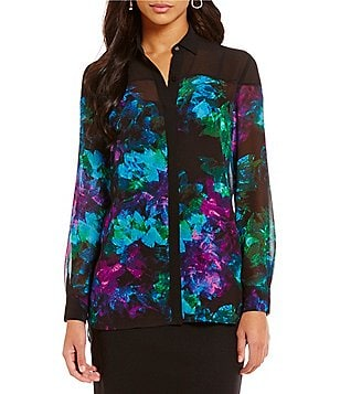Ellen Tracy Illusion Yoke Abstract Floral Printed Georgette Shirt