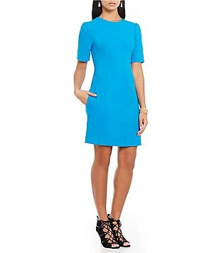 Ellen Tracy Stretch Crepe Short Sleeve Seamed Shift Dress