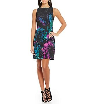 Ellen Tracy Faceted Floral Printed Stretch Crepe A-Line Dress
