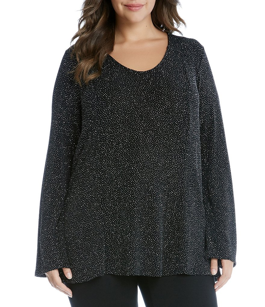 Karen Kane Plus Diamond Dust V-Neck Bell Sleeve Top