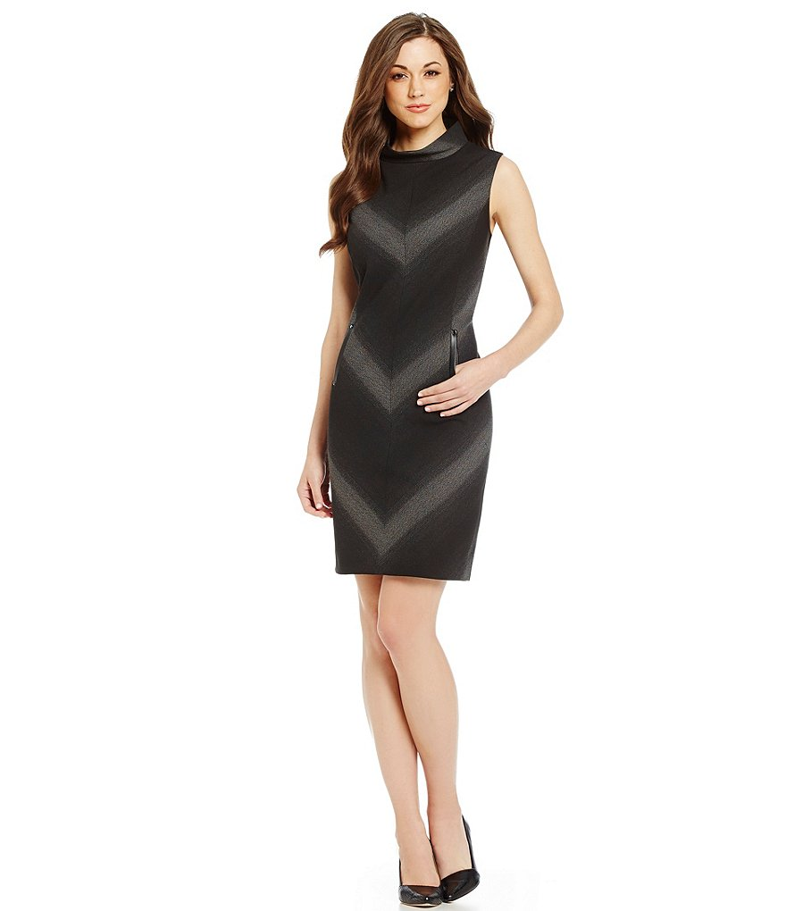 Antonio Melani Joi Jacquard Mock Neck Sleevless Dress