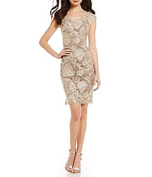 Tadashi Shoji Scalloped Lace Off-the-Shoulder Sheath Dress