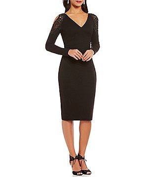 David Meister V-Neck Long Sleeve Lace Trim Sheath Dress