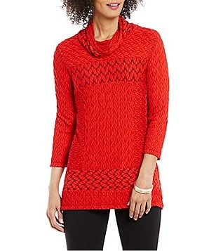 Ali Miles Cowl Neck 3/4 Sleeve Textured Knit Tunic