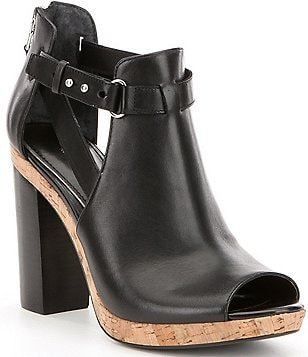 Lauren Ralph Lauren Fiana Leather Side Cutout Peep-Toe Booties