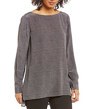 Eileen Fisher Printed Silk Crepe Long Sleeve Ballet Neck Blouse
