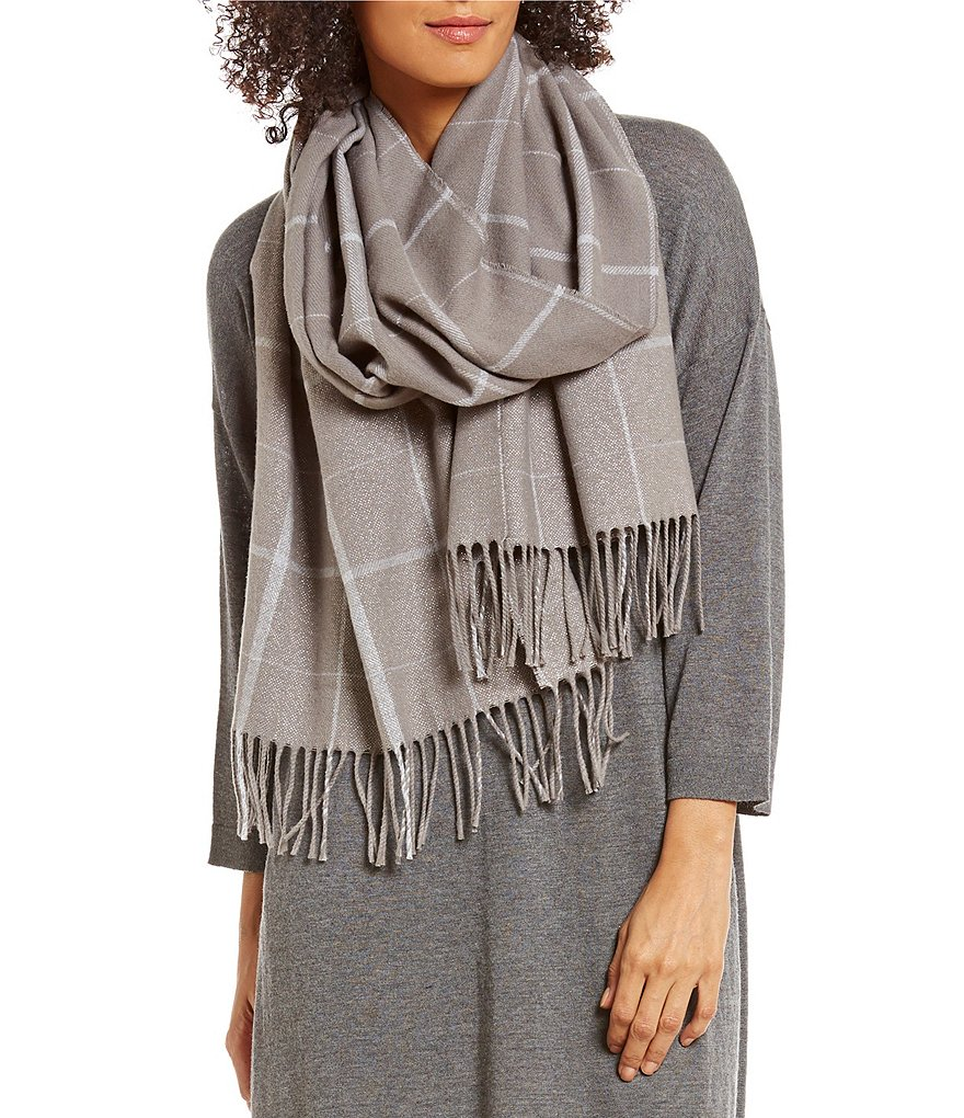 Eileen Fisher Reclaim Fiber Sparkle Plaid Scarf