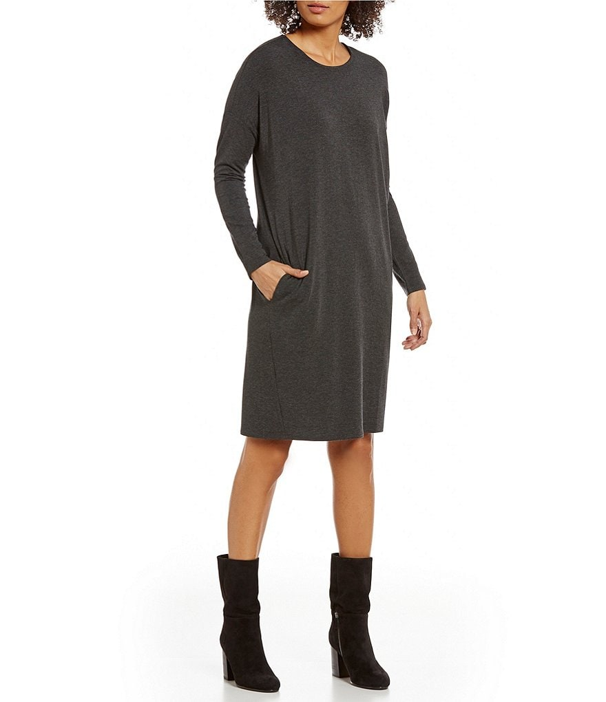 Eileen Fisher Round Neck Long Sleeve Tencel Stretch Jersey Dress