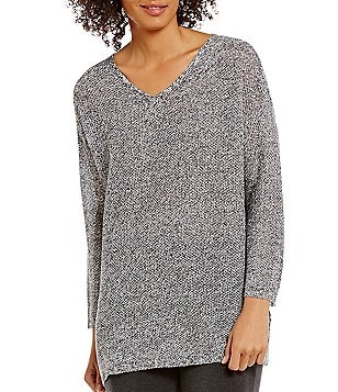 Eileen Fisher V-Neck Organic Linen Knit Box-Top