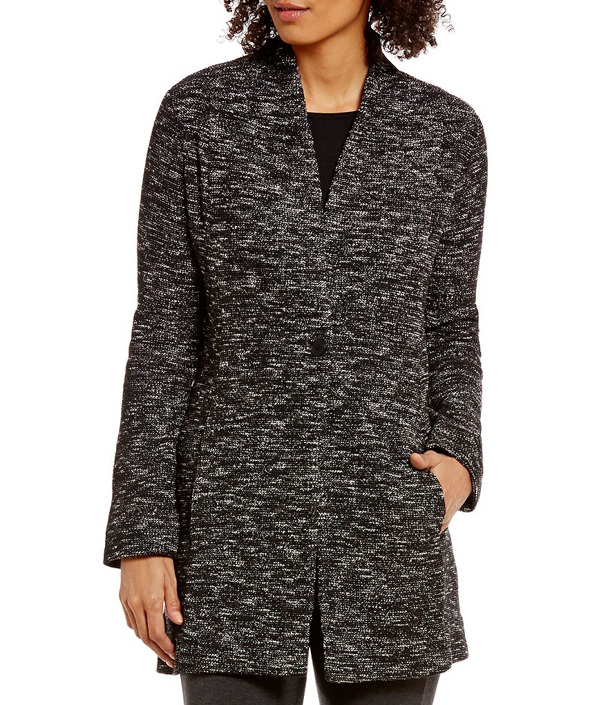 Eileen Fisher Tweedy Organic Cotton Knit Boyfriend Blazer