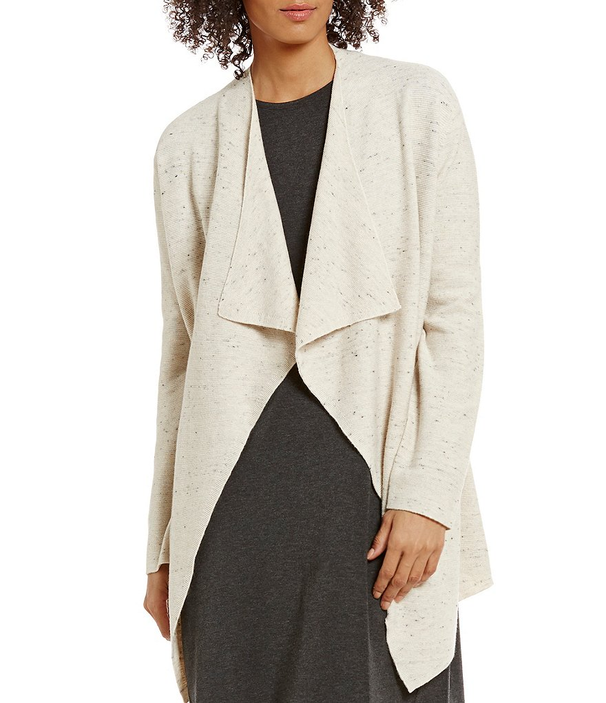 Eileen Fisher Long Sleeve Cascading Open Front Cardigan