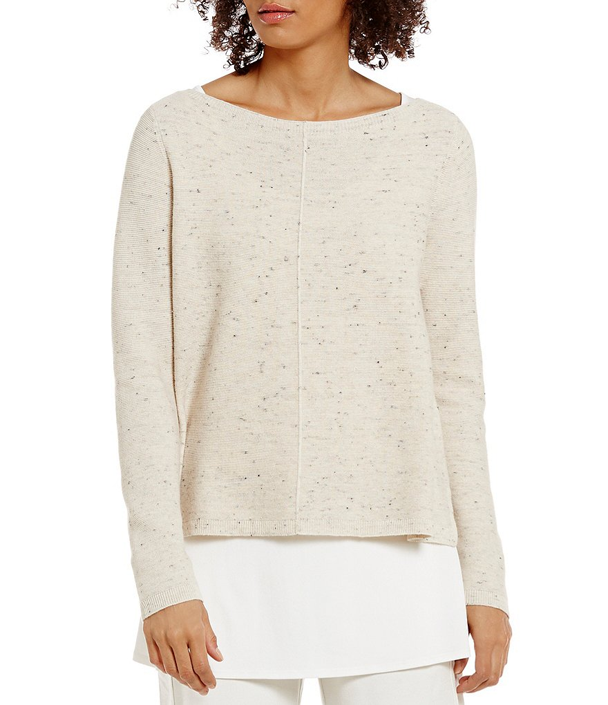 Eileen Fisher Boat Neck Peppered Cotton Wool Nylon Box-Top Sweater