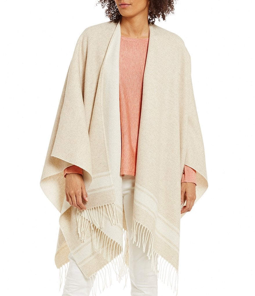 Eileen Fisher Plush Wool Fringe Serape