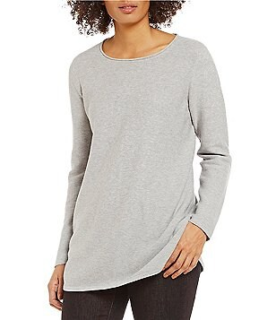 Eileen Fisher Peruvian Organic Cotton Round Neck Long Sleeve Top