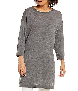Eileen Fisher Bateau Neck 3/4 Sleeve Tunic Sweater