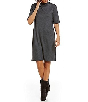 Eileen Fisher Sleek Heathered Wool Jersey Funnel Neck Short Sleeve Dress