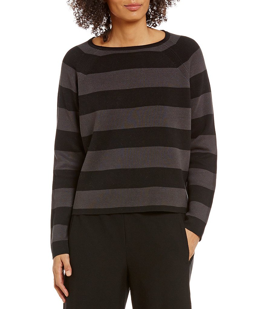 Eileen Fisher Bateau Neck Striped Cropped Silk Sweater Top
