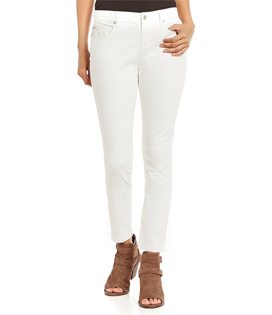 Eileen Fisher Faux-Sueded Stretch Organic Cotton Sateen Skinny Jeans