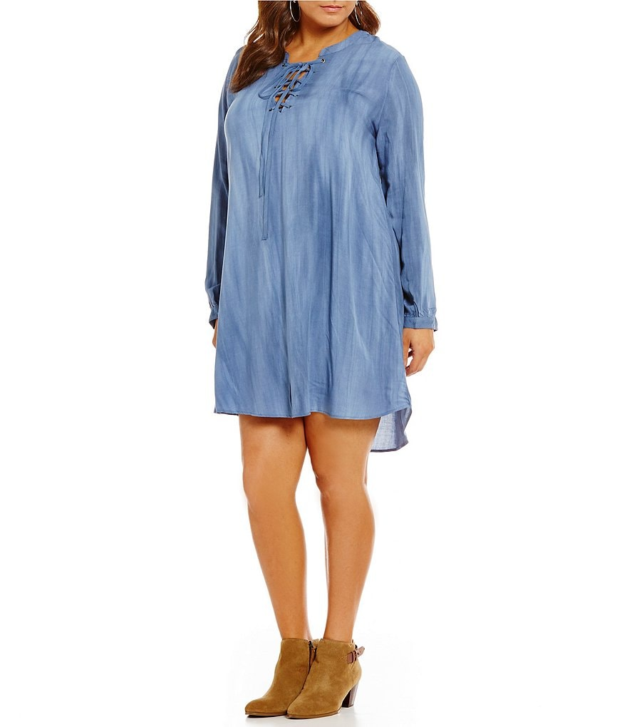 Blu Pepper Plus Lace-Up Long Sleeve Tencel Dress