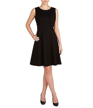 Peter Nygard Petite Luxe Fit-and-Flare Sleeveless Dress