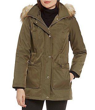 kate spade new york Detachable Faux Fur Hood Parka