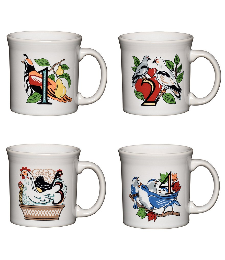 Fiesta Twelve Days of Christmas Series 1 Days 1-4 Java Mugs, Set of 4