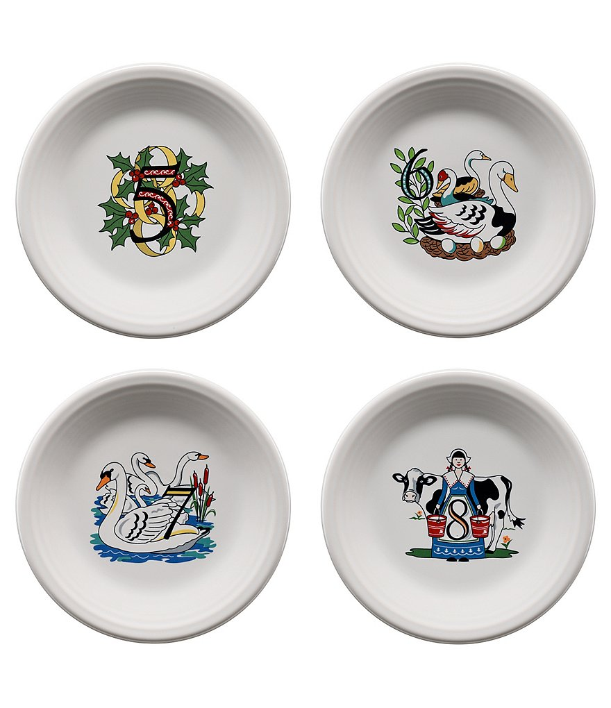 Fiesta Twelve Days of Christmas Series 2 Days 5-8 Salad/Dessert Plates, Set of 4