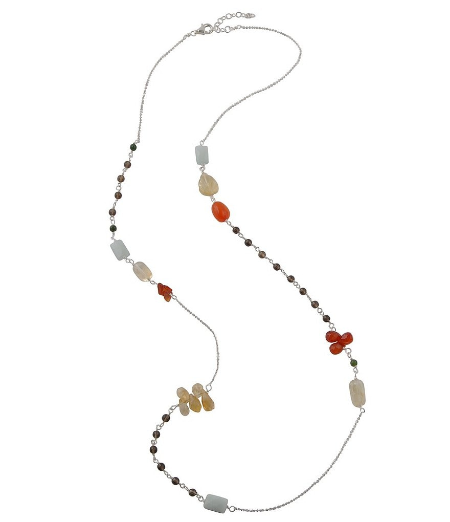 Calvary Sterling Silver & Stone Long Beaded Necklace