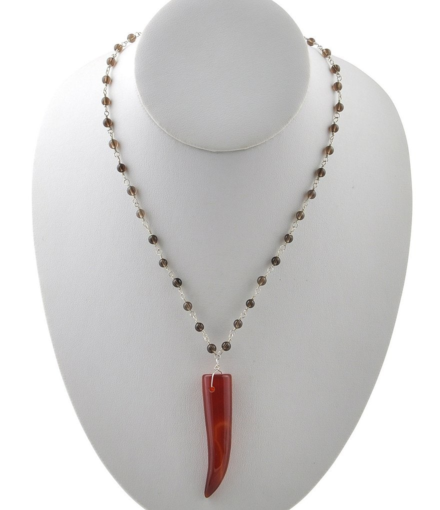 Calvary Sterling Silver, Smoky Quartz & Carnelian Long Pendant Necklace