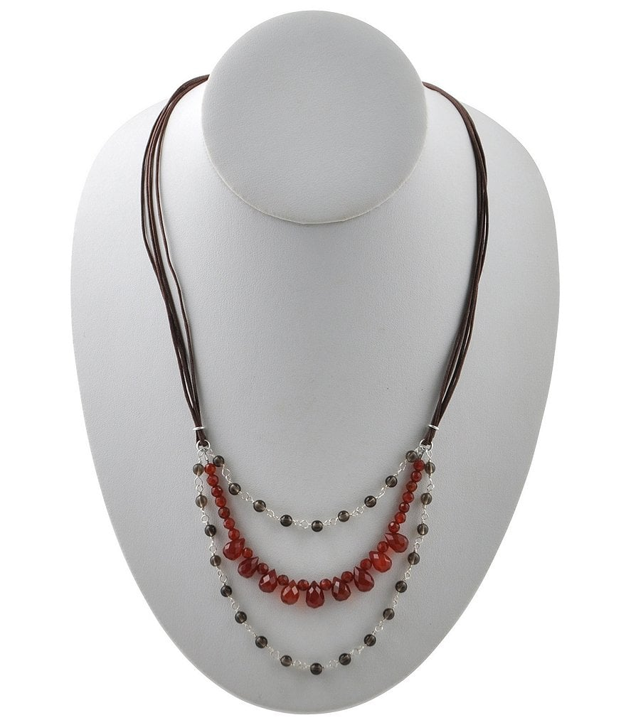 Calvary Sterling Silver, Smoky Quartz & Carnelian Statement Necklace