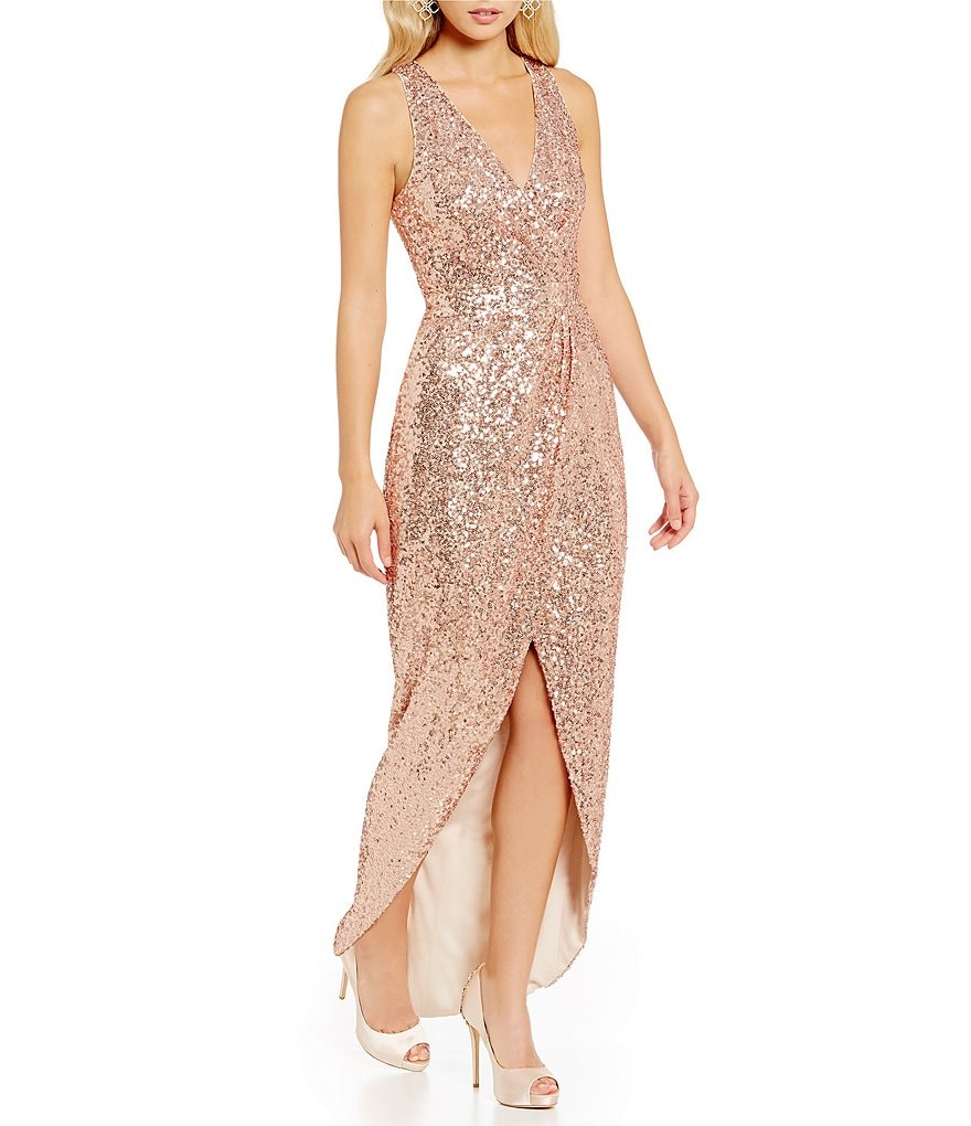 Belle Badgley Mischka V-Neck Sleeveless All Over Sequin High Low Gown
