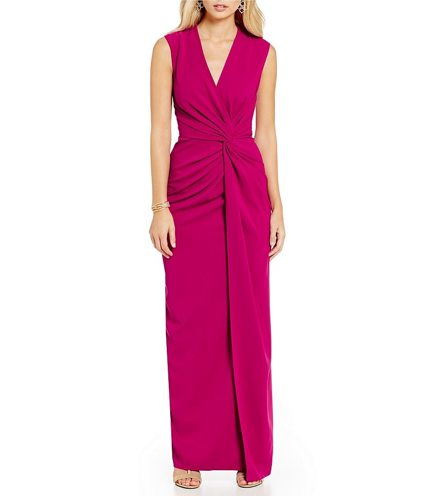 Belle Badgley Mischka Wrap Knot Waist V-Neck Gown