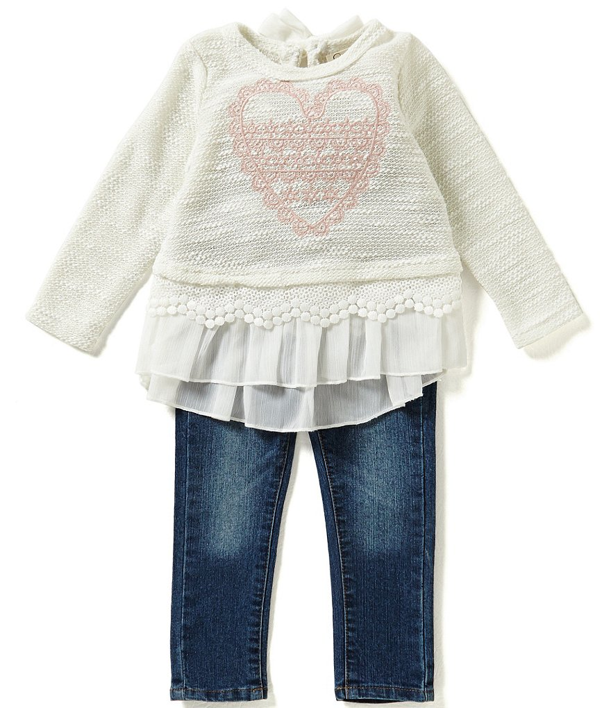 Jessica Simpson Baby Girls 12-24 Months Chiffon and Lace Trim Top and Denim Jeans Set