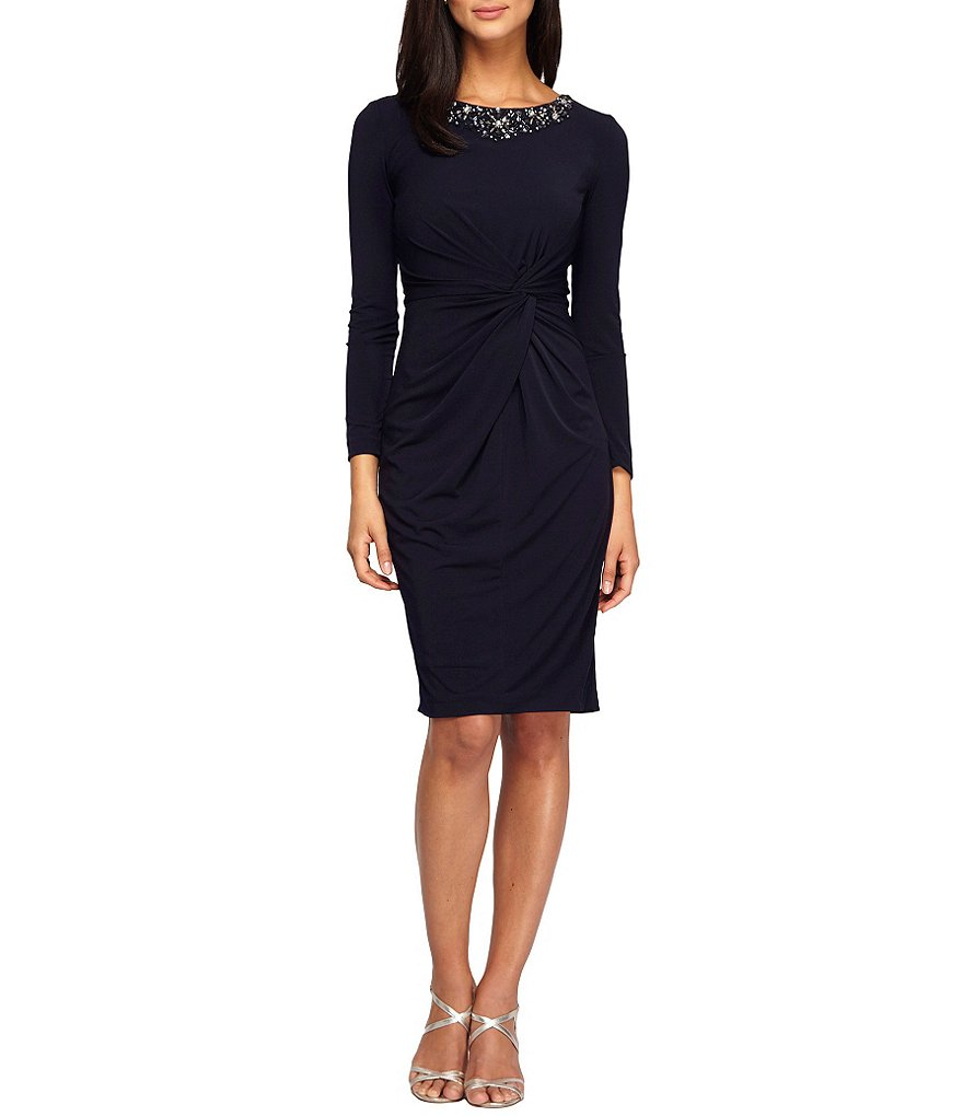 Alex Evenings Petite Beaded-Neck Twist-Front Dress