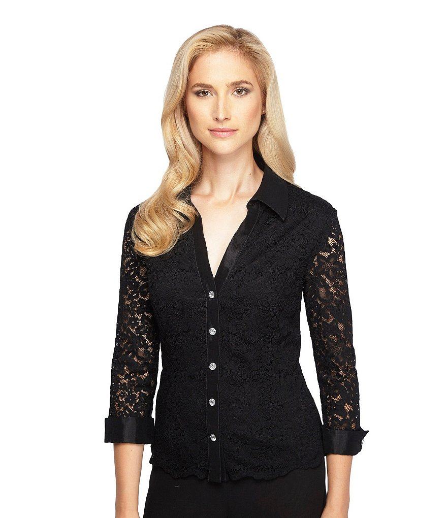 Alex Evenings Petite Lace Button-Front Blouse