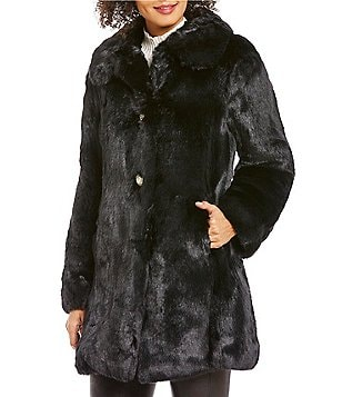 kate spade new york Faux-Fur Club Collar Single Breasted Coat