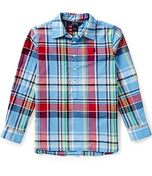 Ralph Lauren Childrenswear Big Girls 7-16 Plaid Poplin Popover Top