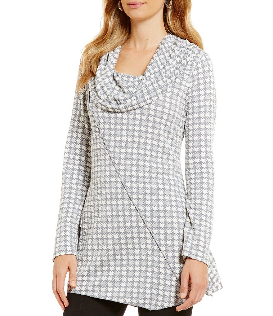 Calessa Cowl Neck Long Sleeve Houndstooth Tunic