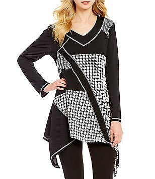 Calessa V-Neck Long Sleeve Sharkbite Hem Houndstooth Patchwork Tunic