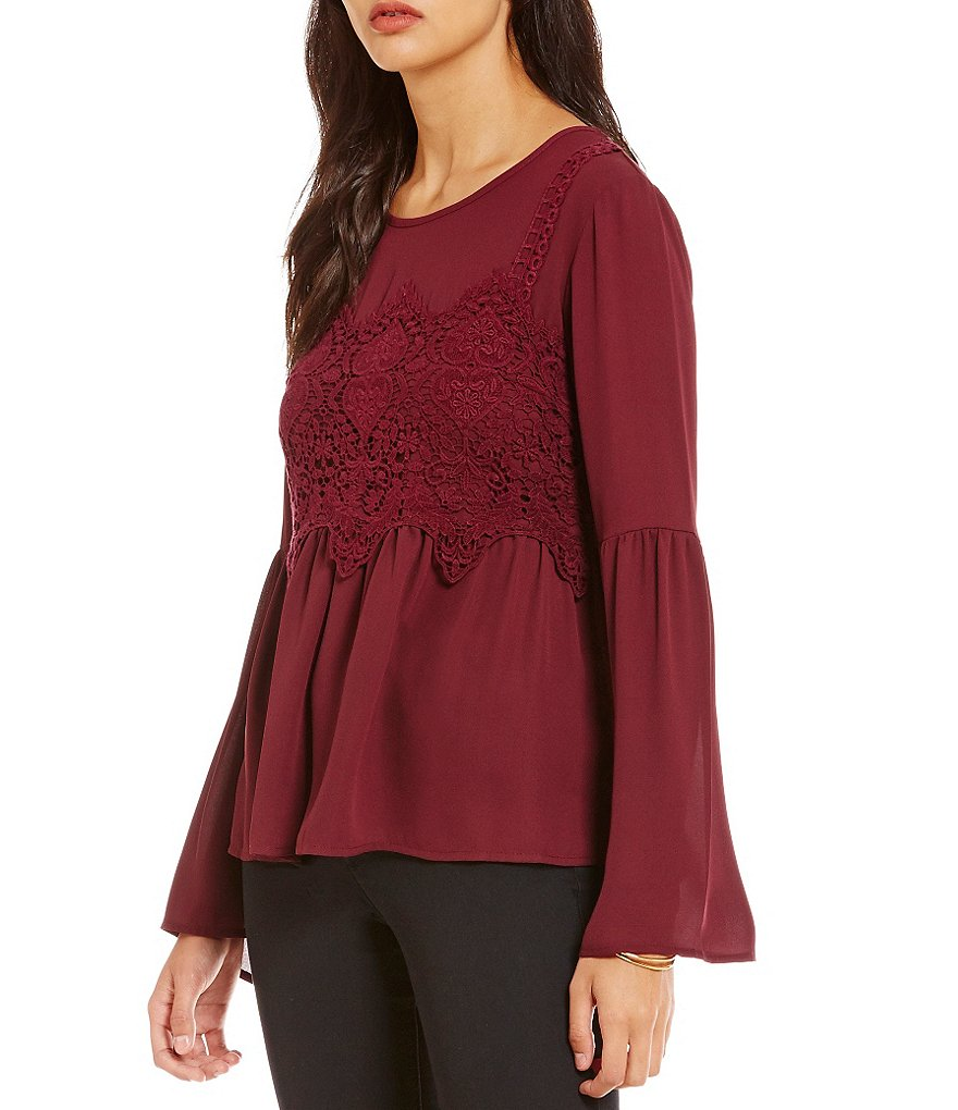 Jolt Lace Applique Bell Sleeve Woven Top