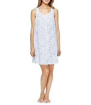 Eileen West Lace-Trimmed Rose-Print Nightgown