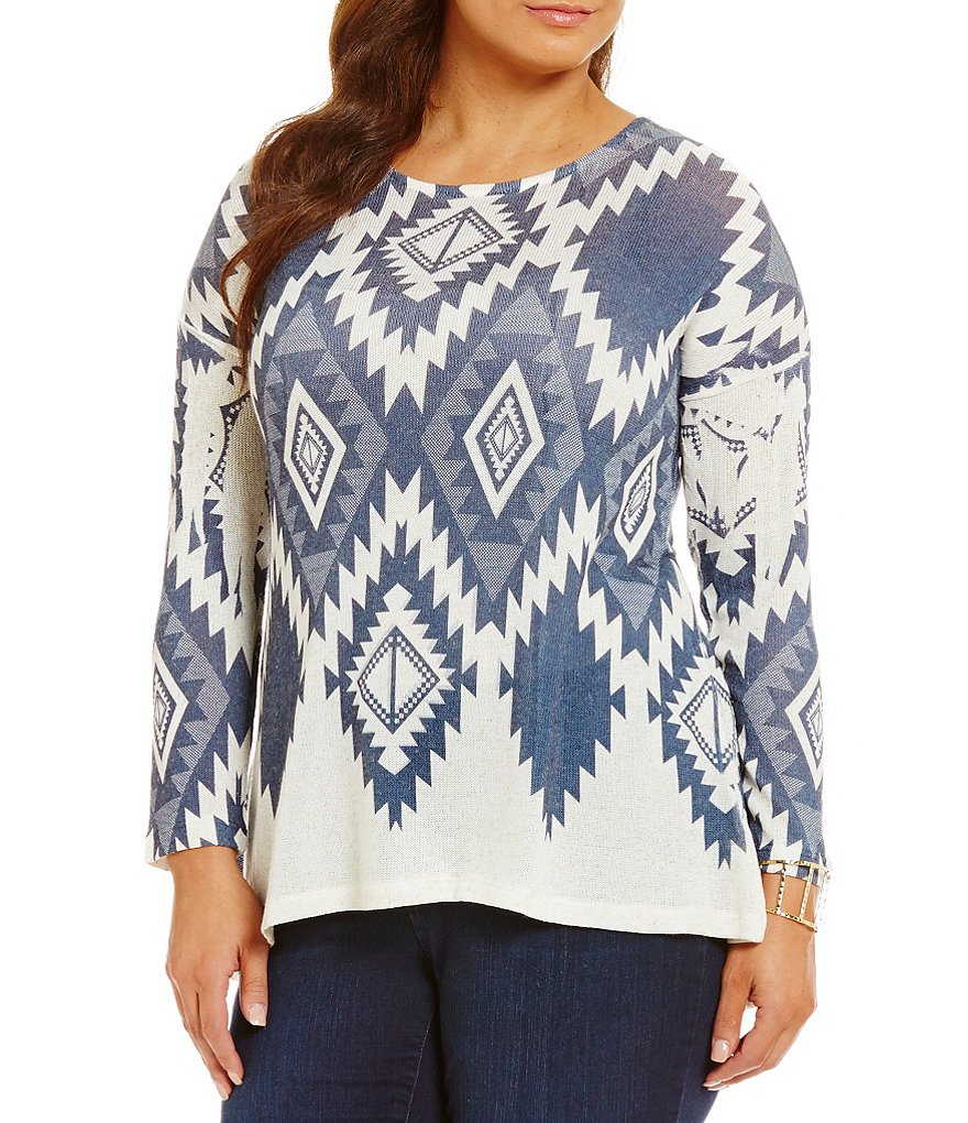 Blu Pepper Plus Knit Aztec Print Hi-Low Tunic
