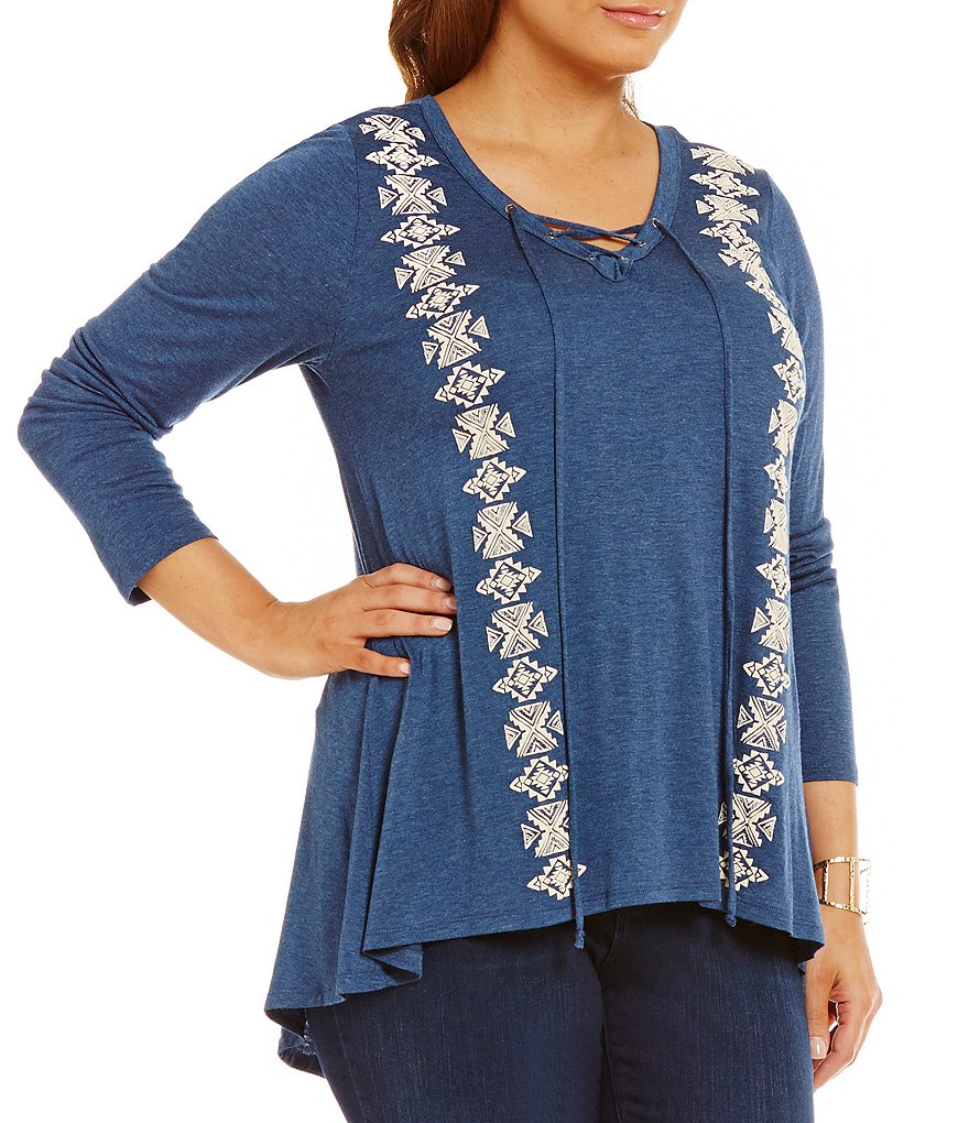 Blu Pepper Plus Knit Embellished Lace-Up Tunic