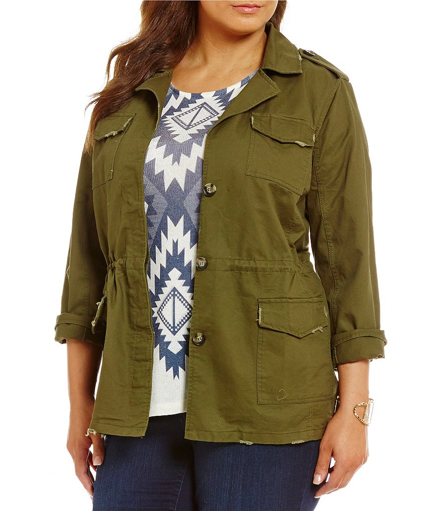 Blu Pepper Plus Embroidered Utility Jacket