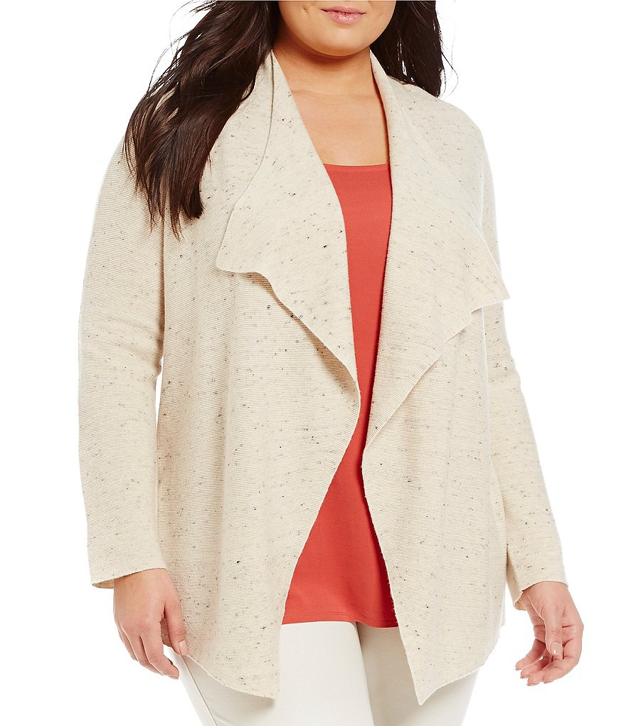 Eileen Fisher Plus Peppered Cotton Wool Nylon Cascade Cardigan