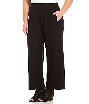 Eileen Fisher Plus Stretch Crepe Wide Ankle Pants